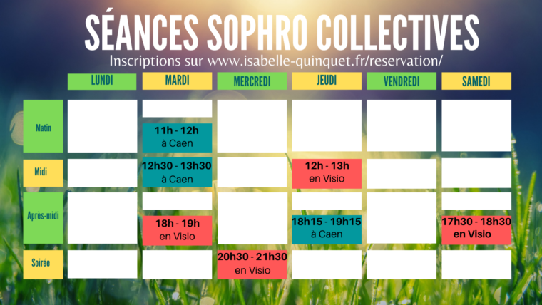 Planning des séances collectives Sophro